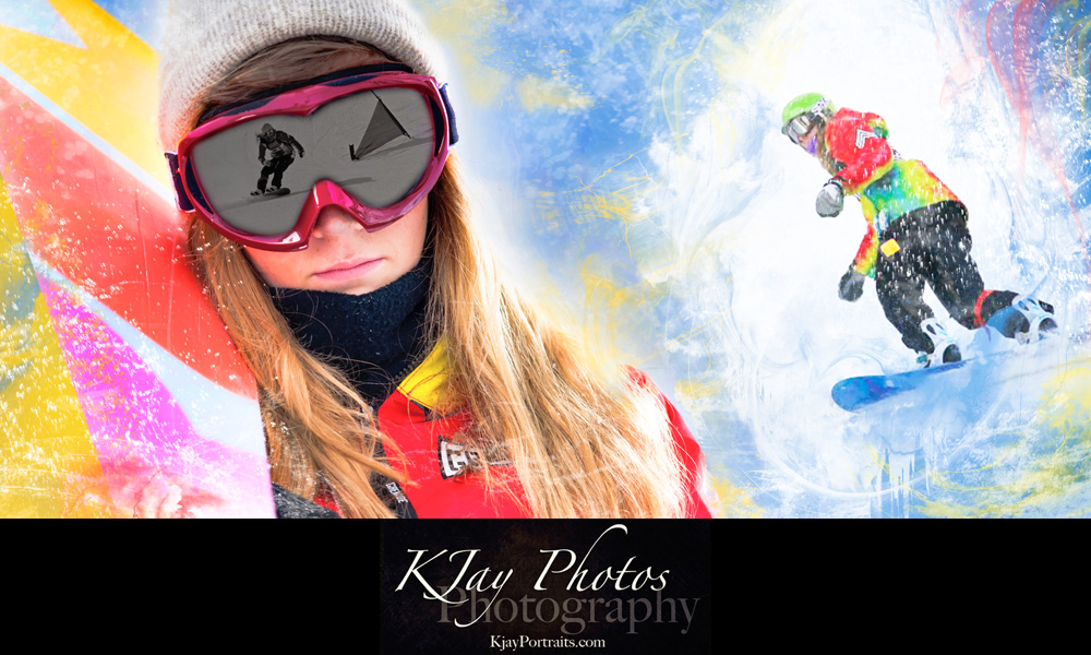 Snowboard senior pictures.  Winter Senior portraits by K Jay Photos Photography, a Madison WI Photographer.