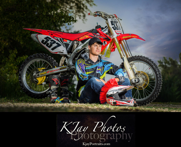 Guy Senior PIctures with the dirt bike. K Jay Photos Photography, Madison WI.