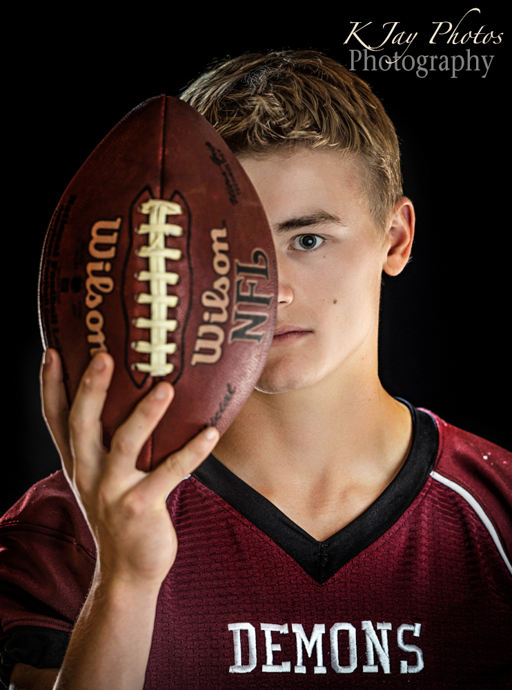 Football senior pictures. K Jay Photos Photography, Madison WI Photographer